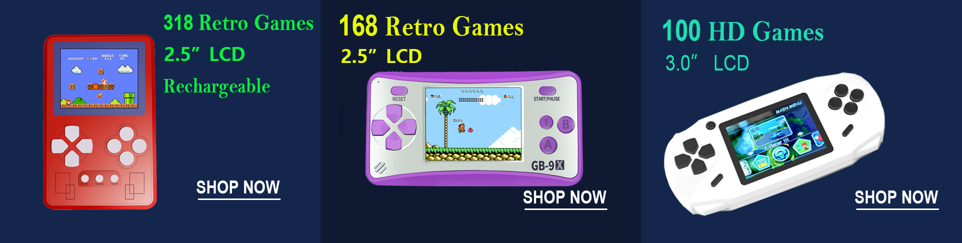 retro handheld game console for kids